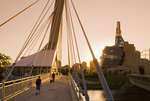 Winnipeg skyline from St. Boniface showing the Red River,  Esplanade Riel Bridge and Canadian Museum for Human Rights,  Manitoba, Canada