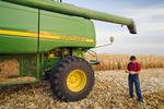 a man examines feed/ grain corn next to a combine near Niverville, Manitoba, Canada