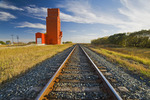 grain elevator and railway tracks, Carey, Manitoba, Canada