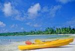 Kayaks on an island in the Aitutaki Lagoon off Aitutaki, Cook Islands