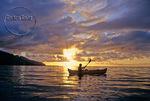 Kayaker at sunset off Moorea