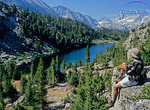 Hiker relaxes in Little Lakes Valley