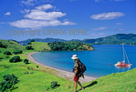 Hiker explores Urupukapuka Island in the Bay of Islands