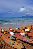 Kayaks beached in South Maui
