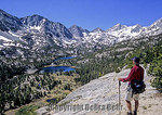 Hiker looks at Little Lakes Valley in the eastern Sierra Nevada