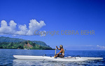 "Paddler in Hanalei Bay sees Mt. Makana, ""Bali Hai"""