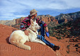Hiker and dog rest in Sedona