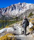 Hiker and White German Shepherd at Convict Lake