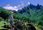 Tourist at the Limahuli Garden and Preserve in Haena, Kauai