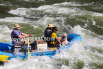 Dog with couple gets splashed on raft trip on the Colorado River in Glenwood Canyon in Colorado