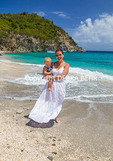Mom and baby at Shell Beach on St. Barts