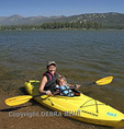 Mother and girl in kayak at Big Bear Lake in Southern California