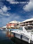 Waterfront at lagoon at Marigot in St. Martin