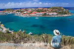 Tourist looks at Gustavia in St. Barts