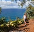 Hiker on the Kalalau Trail on Kauai