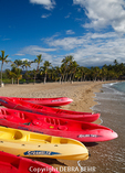 Kayaks at Anaehoomalu Bay on the Big Island