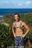 Hiker on the Kalalau Trail above Kee Beach