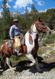 Horseback rider from Rock Creek Pack Station in Little Lakes Valley in Rock Creek Canyon, a popular destination for Mammoth Lakes visitors