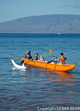 Youngsters practice paddling in Lahaina Canoe Club outrigger canoe