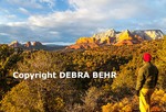 Hiker in Sedona at sunset