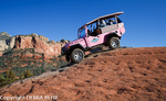 Pink Jeep tour goes down steep grade in Sedona