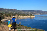 Mother and children at Point Dume State Preserve in Malibu