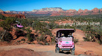 Pink Jeep Tours vehicles explore Broken Arrow area of Sedona