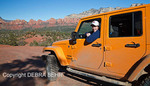 Driver exploring Broken Arrow area of Sedona in his jeep