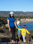 Mother and children at Point Dume State Reserve in Malibu