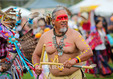 Chumash dancer participates in the Chumash Day Powwow and intertribal gathering in Malibu, California