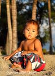 Hawaiian boy at Anaehoomalu Bay on the Big Island