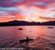 Kayaker in Lake Tahoe at sunset