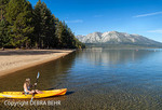 Kayaker paddles into Lake Tahoe from the Camp Richardson area