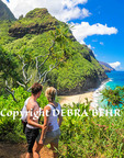Hikers on the Kalalau Trail see Hanakapai Beach and the Na Pali Coast on Kauai