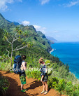 Backpackers on the Kalalau Trail on Kauai