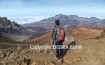 Hiker gazes at Haleakala National Park