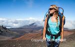 Hiker on the Sliding Sands Trail at Haleakala National Park on Maui