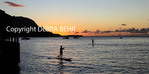 Stand up paddleboards in Hanalei Bay at sunset