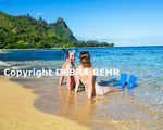 Snorkelers at Tunnels Beach on Kauai