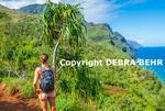 Hiker on the Kalalau Trail on Kauai