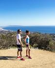 Hikers on the Temescal Ridge Trail see Santa Monica Bay