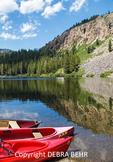 Canoes at Twin Lakes at Mammoth Lakes