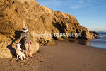 Man and dog at pet-friendly area of Leo Carillo State Beach