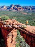 Hiker on Devil's Bridge in Sedona