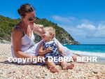Mother and child at Shell Beach on St. Barts