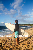 Surfer at Hookipa Beach Park on Maui at sunset, with Hawaiian monk seal on sand in background