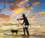 Surfer and dog in Hanalei Bay (photo composite)