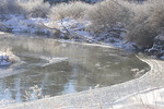 Frazil ice flowing downstream