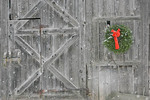 Old Vermont Barn with Christmas wreath and triangle