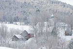 East Albany Village in winter. Hoar frost on trees
